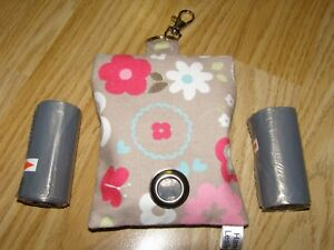 HANDMADE FABRIC DOG POO POOP BAG HOLDER DISPENSER CLARKE & CLARKE G