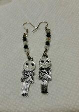 Skeleton jack, Earrings with Black Faceted Crystal inspired by movie
