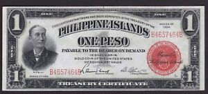 US Philippines Treasury Certificate  1 peso 1924 SN# B4657464B Green Back, nice