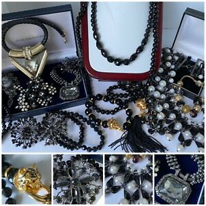 Job Lot Vintage Costume Jewellery Black French Jet Beads, Panther, Brooches etc