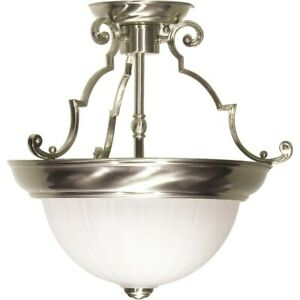 """Nuvo 2 Light 13"""" Semi-Flush Frosted Melon Glass, Brushed Nickel - SF76-433"""