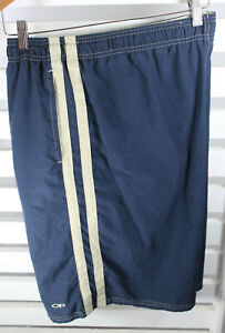 Ocean Pacific OP Mens Size XXL Swim Trunks  Navy Tan Stripes Mesh Lined Pockets