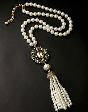 Costume Necklace Gold Long Amber imi Tassel Pompon Pearl Filigree Vintage MYL1