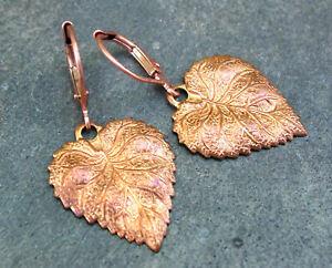 *PI*RUSTIC Ornate textured Intricate LEAF Oxidized COPPER petite drop Earrings!