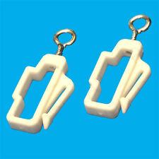2x plastique blanc rideau ligne fin RAIL crochets, PISTE bloc porte , Glide