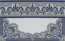 1e Wandfliese Casablanca blau Bordüre Keramik Fliese Sauna Küche Fliesenspiegel