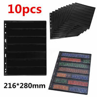 10 Sheets Stamp Stock Pages (7 Strips) w/ 9 Binder Holes - Black & Double Sided