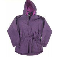 Vintage 90s Swishy Windbreaker Jacket Hoodie Women Medium 1/2 Zip Retro Pullover
