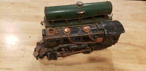 Vintage American Flyer locomotive  and Green tanker car