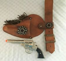 1940 Peace Maker Cast Iron Cap Gun with Leather Holster Rig