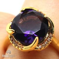 Large 5CT Round Purple Amethyst Ring Women Birthday Jewelry Yellow Gold Plated