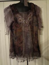 Pretty Angel mochaTunic Shirt Victorian, Ruffles, Lace Boho Size S