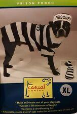 Pet Dog Pooch Prison Coat Hat Suit Clothes Dress Set Cosplay Halloween Cosplay