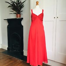 Vintage 90s Bright Red Lace Floaty Empire Line Long Maxi Dress 8