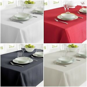 RECTANGLE LINEN LOOK TABLE CLOTH 52x70 INCH OR 52x90 INCH RED WHITE GREY BLACK