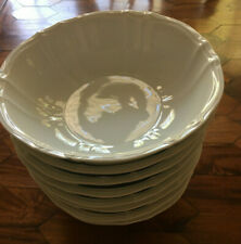 """Eight-Furstenberg Anna Carina White Footed Large 8 1/4"""" Soup Bowls(West Germany)"""