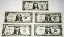 LOT OF FIVE (5) USA Better Grade SILVER CERTIFICATE $1 DOLLAR BANKNOTES~LOT #1!