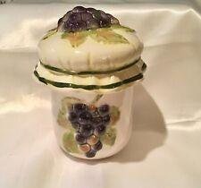 New listing Vintage Grape Jam Jelly Condiment Ceramic Jar Pot Purple