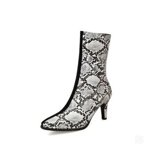 New Womens Pointy Toe 7cm Heel Shoes Ankle Boots Snakeskin Pattern Casual 34-46