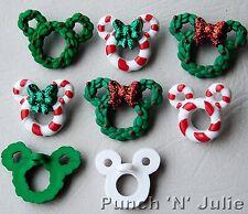 CORONAS de flores y bastones de Navidad de Disney Mickey Minnie Mouse Vestido para arriba Craft Botones