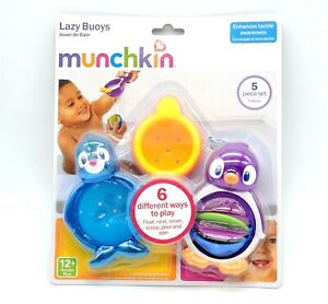 Munchkin Toddler Baby Bath Toy Lazy Buoys Cups & Spinner Baby Shower Gift NEW