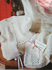 Baby's Matinee Coat/Jacket Bonnet and Shawl Crochet Pattern BP114