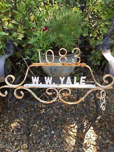 Antique Shabby Chic Iron Address Sign Yale 1083 Original Paint Fun Garden Decor