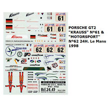 Decal Porsche 911 GT2 Le Mans 1998 No. 61 & No. 62