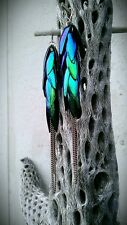 Hand Crafted Jewel Beetle Green/Blue Elytra Wing Dangle Earrings Size 2 copper