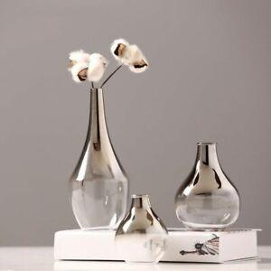 Nordic Glass Silver Vase Gradient Dried Flower Insert Desktop Jewelry Home Decor
