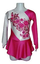 6-8 years girls Fuchsia Pink and Silver figure ice skating dress flowers New