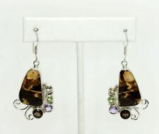 Sterling Silver Jasper Cabochon Round Multi Gemstone Drop Dangle Earrings