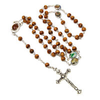 Olive wood Handmade Rosary beads Prayer Knot with Holy Soil from Jerusalem 17""