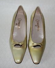 Vtg Chanel Yellow Lime Color Patent Leather Bow Shoes Heels Size 39.5