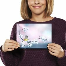 A5 - Butterfly Cherry Blossom Pink Print 21x14.8cm 280gsm #2629