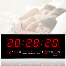 Digital Large LED Display Wall Desk Clock Alarm W/ Calendar Temperature Humidity