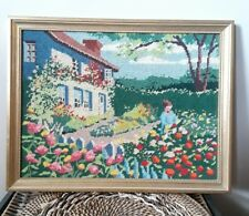vintage needlepoint framed house flowers garden completed cottage tree stitchery