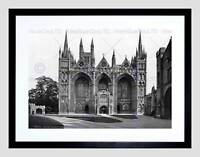 PETERBOROUGH CATHEDRAL WEST FRONT ENGLAND OLD BW FRAMED ART PRINT MOUNT B12X556