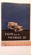 """1938 VAUXHAULL """"Facts Booklet"""" -Pt Color Dealer Sales Catalog Brochure - VG (UK)"""