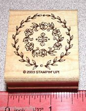 Leaves & Flowers Rubber Stamp in Circle Single by Stampin Up Memory of the Heart