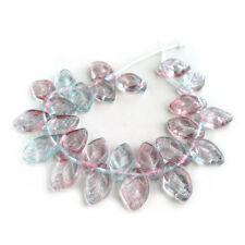 Pink Blue Violet Leaf Glass Beads Two Tone Czech Pressed