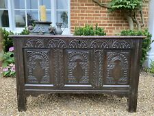 More details for wonderful 17th century antique oak coffer / blanket box / chest. candle box lock