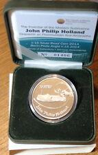 IRELAND 15  EURO SILVER PROOF 2014.  JOHN PHILIP HOLLAND. INVENTOR SUBMARINE.