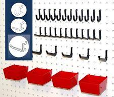 43 PC. PEG HOOK KIT- PEGBOARD TOOL STORAGE - ORGANIZER - RED BINS & BLACK PEGS
