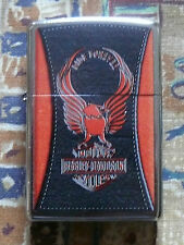DISCONTINUED HARLEY DAVIDSON LEATHER EFFECT ZIPPO LIGHTER FREE P&P FREE FLINTS