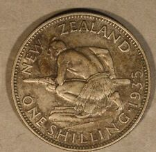 1935 New Zealand Silver Shilling Circulated         ** FREE U.S. SHIPPING **