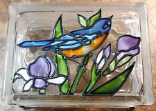 Handmade Blue Bird Stained Glass Block Decorative FREE PRIORITY