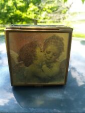 Handcrafted Via Vermont Angel& Child Glass Jewelry Trinket Box Hinged Lid