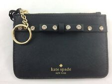 New Authentic Kate Spade Bitsy Laurel Way Jeweled Coin Case Wallet Black
