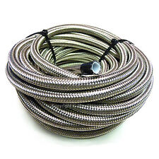 """AN -4 AN4 3/16"""" 5MM Stainless Steel Braided PTFE Fuel Hose Pipe 1 Metre"""